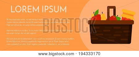 Wicker basket with fruits red green apple and yellow pear and homemade jam or juice jar. Postcard banner or poster template. Vector flat illustration isolated on the background. Eps10.