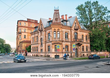 SAINT - PETERSBURG, RUSSIA - JULY 4, 2017: Former house of Victor Schroter (1839-1901) at the Moyka Embankment. He was Russian architect of German ethnicity. He designed this own detached house