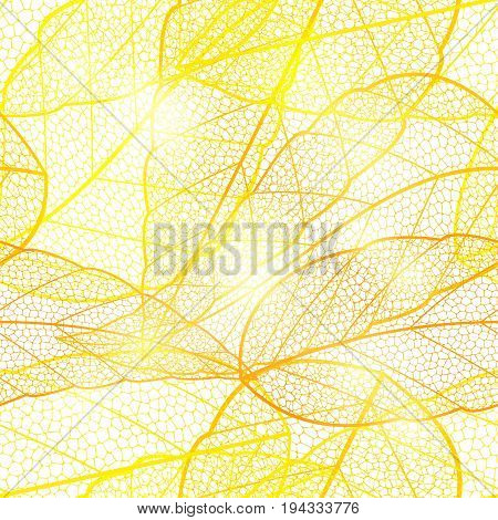 Seamless bright golden autumn leaf background. Glittering golden shimmering bright pattern with dried leaves. Vector illustration