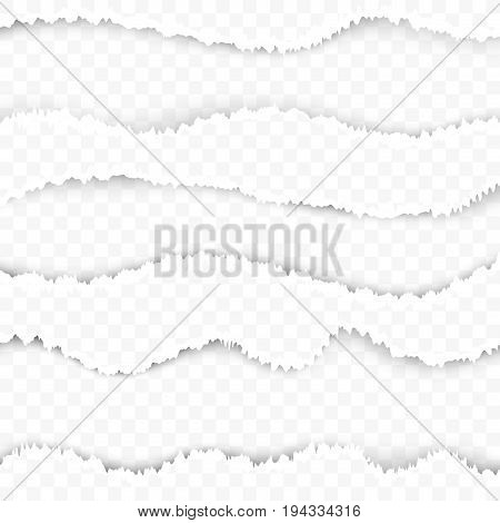 Torn ripped paper transparent background template. Easy to apply layouts image divider in web graphic design. Page texture with teared border lines. Vector illustration