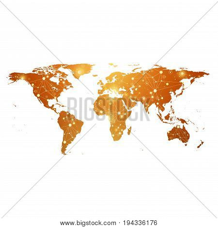 Golden World Map with global technology networking concept. Digital data visualization. Scientific cybernetic particle compounds. Big Data background communication. Vector illustration
