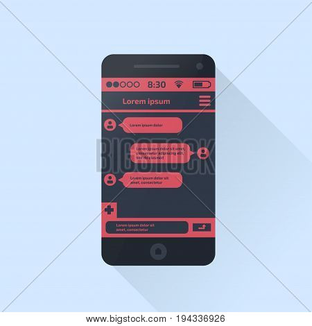Mobile phone. Social network concept. Vector illustration. Chating and messaging concept.