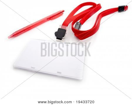 Blank security or ID card with red strap and pen, isolated on white. For adding your message or corporate information.