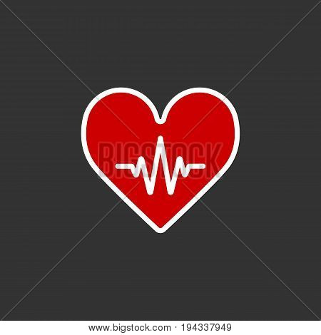 Heartbeat Line Heart Cardio. Heart flat solid vector icon. Eps 10
