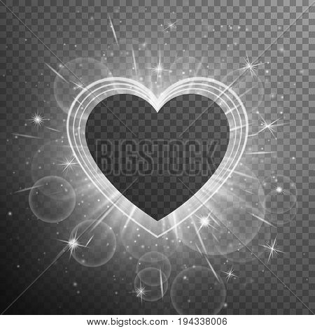 Diamond background with glittering lights. Heart glow on a transparent backdrop.