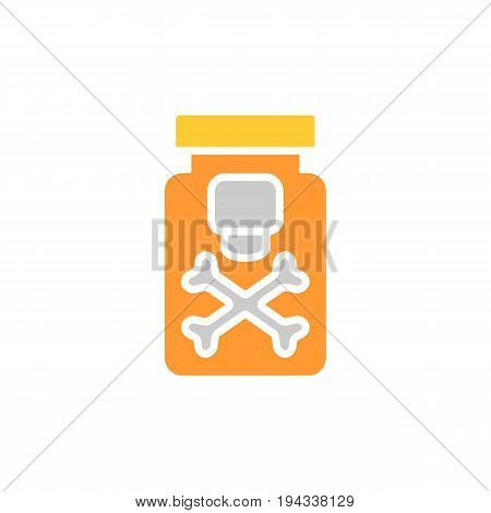 Drug vector line icon isolated on white background. Drug flat icon for infographic, website or app. Poison substance in a bootle. Eps 10