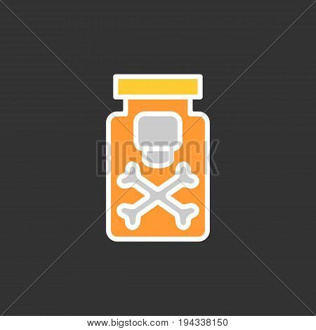 Drug vector line icon isolated on black background. Drug flat icon for infographic, website or app. Poison substance in a bottle. Eps 10