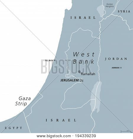 West Bank and Gaza Strip political map with capital Ramallah. State of Palestine with designated capital East Jerusalem. Gray illustration isolated on white background with English labeling. Vector.
