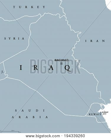 Iraq political map with capital Baghdad. Republic and Arab country in the Middle East, Western Asia and on the Persian Gulf. Gray illustration isolated on white background. English labeling. Vector.
