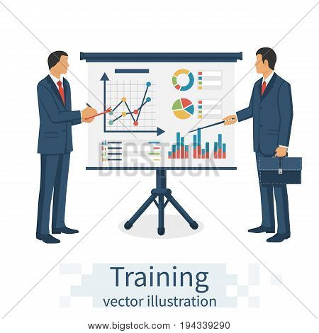 Financial consultant at the training. Businessman write analysis diagrams graphs and chart. Discussion data analysis. Strategy planning. Vector illustration flat design. Isolated on white background.