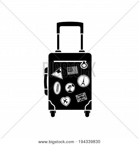 Travel bag with handle on wheels icon. Black silhouette. Time to travel. Vector illustration flat design. Tourist suitcase. Isolated on white background. Stickers from all over world, sign of journeys