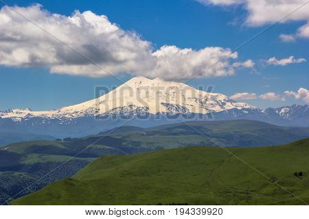 High Mount Elbrus, beautiful view of snow tops, mountain panorama, sights and mountains of the North Caucasus