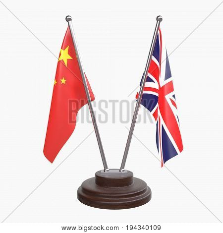 China and Great Britain, two table flags isolated on white background. 3d image