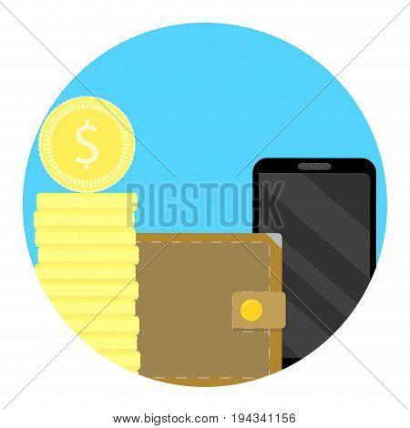 Balance finance icon on phone. Account app money transaction to telephone illustration vector