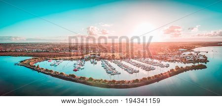 Aerial panorama of beautiful marina at sunset. Melbourne Victoria Australia