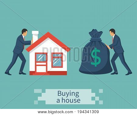 Buying house. Deal sale and purchase of real, concept. Vector illustration flat design. Money home. Isolated on background. Meeting sales agent, realtor, with buyer. Businessmen push house, bag money.