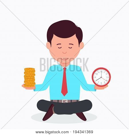Business man sitting in lotus position with a clock and money. Concept time is money.