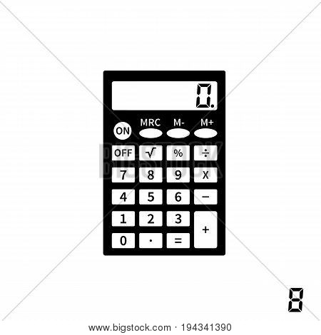 Calculator icons flat design vector illustration. Black silhouette machine isolated on white background. Sign of editing numbers. Template for web design, calculations and computations.