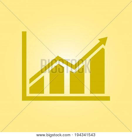 Infographic. Chart icon. Growing graph simbol. Flat design style.