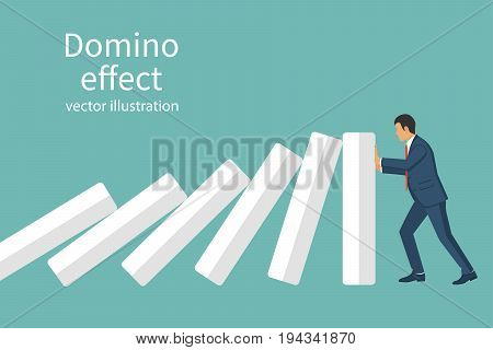 Domino effect. Stopping chain reaction business solution. Successful intervention. Man stops falling domino pushes hands. Vector illustration flat design. Isolated on background. Businessman in suit.