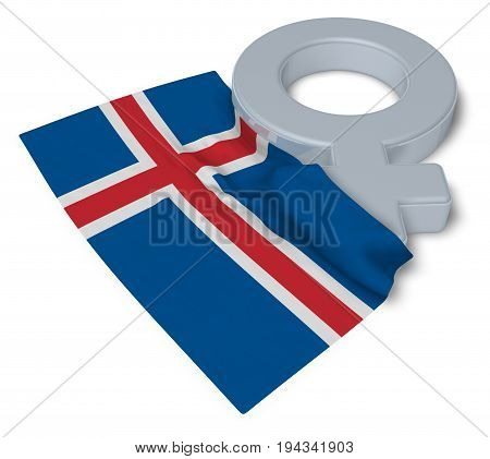 female symbol and flag of iceland - 3d rendering