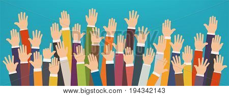 Concept of raised up hands. Volunteering charity party concept of education business training.