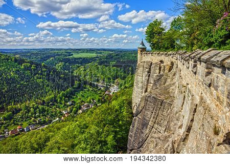 Saxon Switzerland, Germany. Elbe river view from castle Koenigstein.
