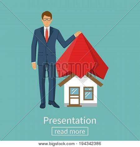Presentation house. Businessman presents project at home covered with red silk cloth. Opening construction concept. Vector illustration flat design. Isolated on background. Show home.