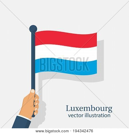 Independence Day Luxembourg 23 th June. Man is holding a flying flag in hand. Vector illustration flat design. Isolated on white background.