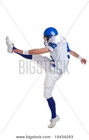 Photo of an American football player kicking, isolated on a white background.