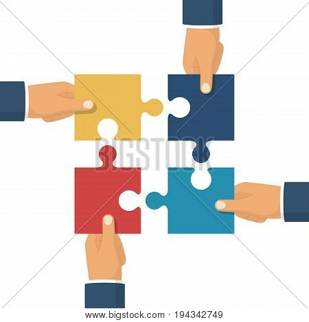 Hands holding puzzle. Pieces together. Teamwork concept. Business partnership metaphor. Vector illustration flat style design. Solution and strategy. Symbol of working together cooperation, combining.