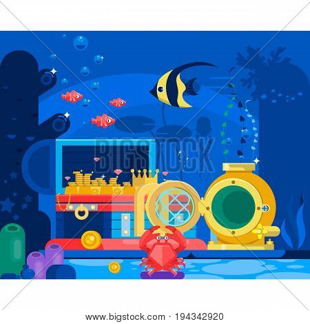 Chest of gold in the sand under water.Marine Life Landscape - the ocean and the underwater world with different inhabitants. Flat vector illustration