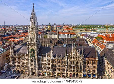 Marienplatz town hall of Munich city, Germany