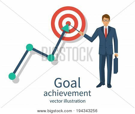 Businessman in suit shows on achievement goal. Ambition business. Path chart to target. Vector illustration flat design. Isolated on background. Aspiration to victory. Successful way on graph in top.