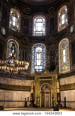 Istanbul, Turkey - July 3, 2017: Interior of Hagia Sophia - greatest monument of Byzantine Culture, Istanbul, Turkey.