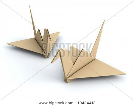 Peace concept origami crane paper bird 3d illustration poster