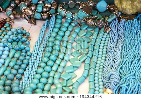 Turquoise bead blue necklaces ornamental decoration jewelery