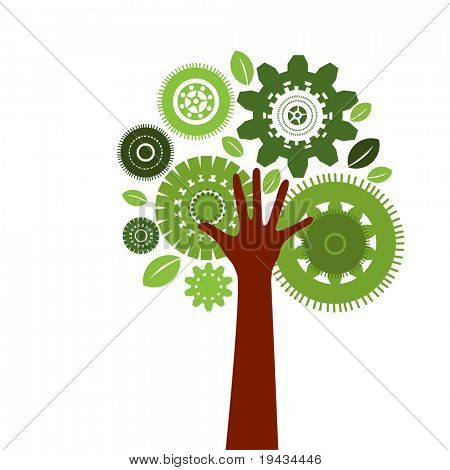 Gear Tree with hand as tree trunk - environment technology concept
