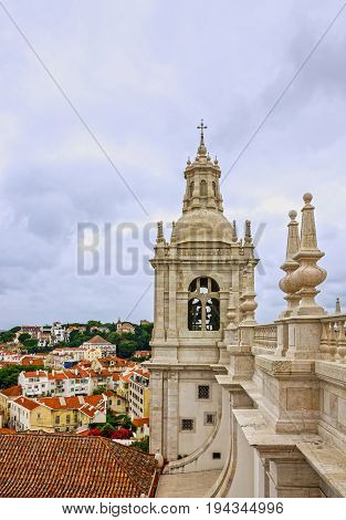 Lisbon city, Portugal. Tower bell of Saint Vicente de Fora Monastery