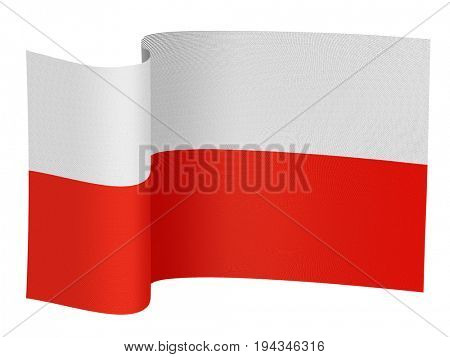 illustration of the Poland flag on a white background
