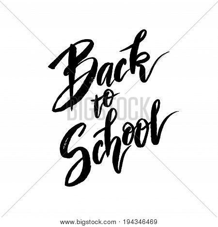 Text back to school - hand drawn lettering on white isolated. For big sale banner. Vector illustration stock vector.