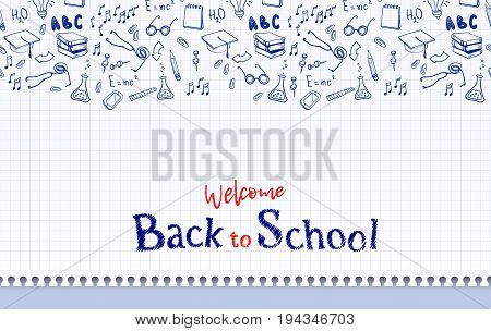 Horizontal seamless border with school elements and text welcome back to school on copy book page.. Modern thin line icons school supplies. Super sale doodles. Vector illustration stock vector.