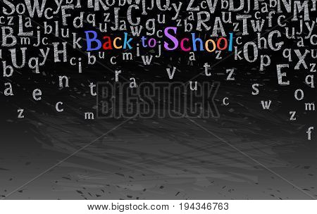 Horizontal seamless border with alphabet charecters or letters and text welcome back to school chalk on blackboard. Vector illustration stock vector.