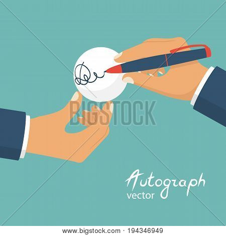 A male athlete gives an autograph, signing on a ball. Holding the ball and the pen in hands. Vector illustration flat design. Isolated on background.