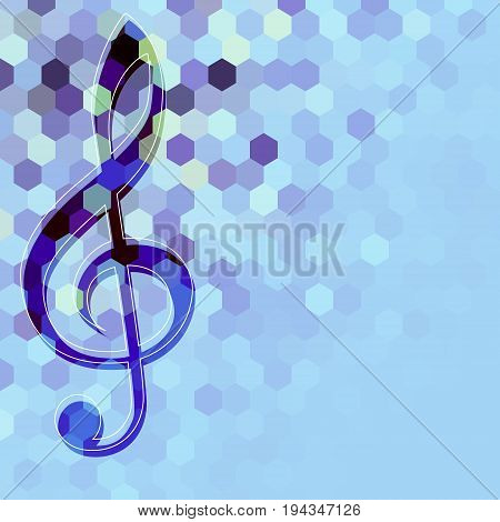 Classical music background pattern with the treble clef on low poly blue background.