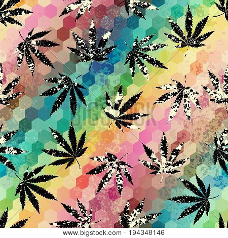 Seamless background pattern. Grunge abstract background and hemp leaves.