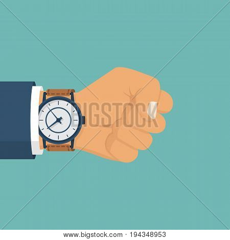 Wristwatch on hand of businessman in suit. Time on wrist watch. Man with clock checks time. Hand with clock isolated on white background. Flat style design, vector illustration.