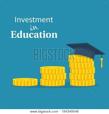 Investment in education. Graduate's cap on stack golden coin. Vector illustration flat design. Concept of saving money for scholarship. Isolated on background.