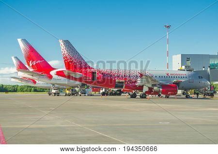 Airbus A319 Rossiya Airlines, Airport Pulkovo, Russia Saint-petersburg June 2017