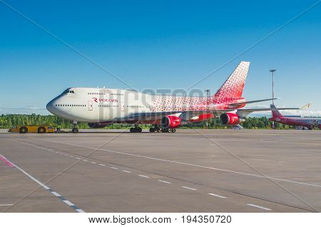 Boeing 747 Rossiya Airlines, Airport Pulkovo, Russia Saint-petersburg June 2017